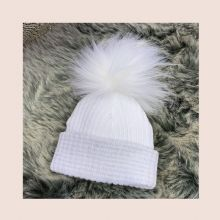 First Size White Ribbed Fur Pom Pom Hat